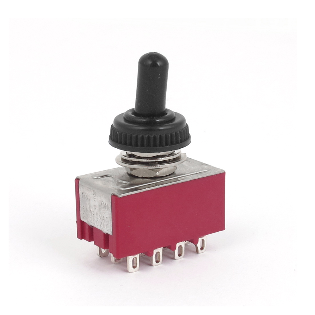 AC 250V 2A 125V 6A Waterproof Cap on/off/on 12pin 4PDT Toggle Switch Red Black