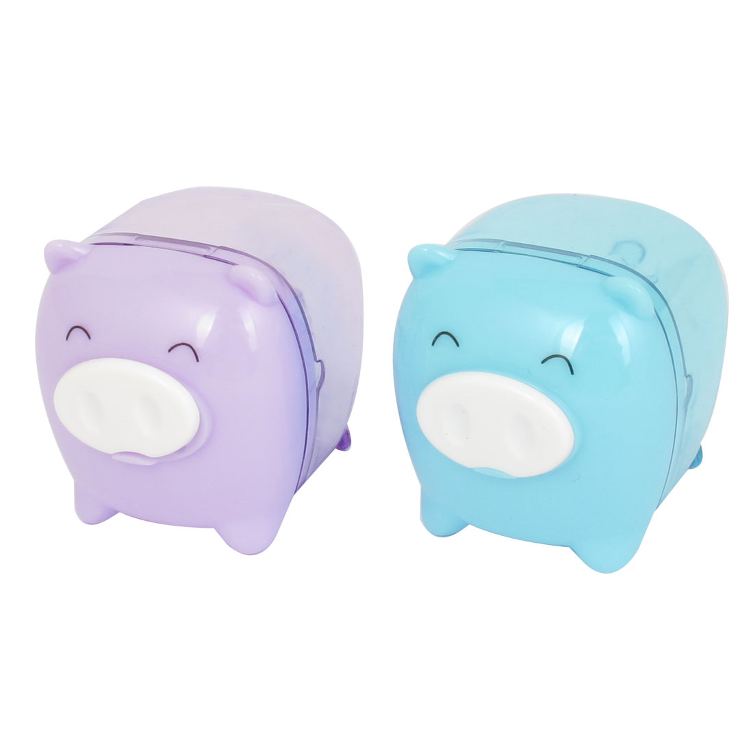 Students Stationery Pig Style Plastic Case Pencil Sharpener Purple Blue 2pcs