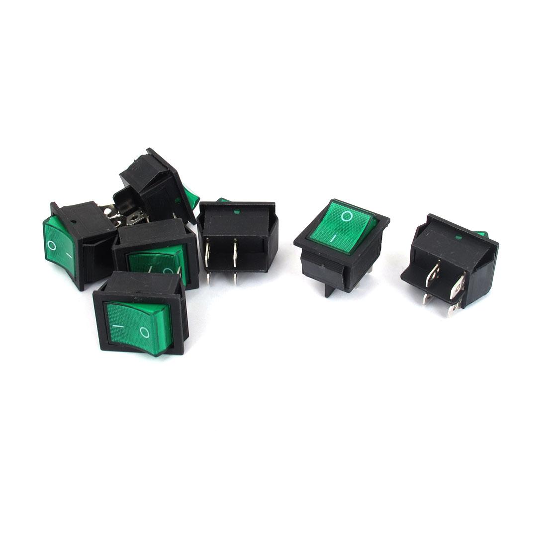 AC250V 16A/AC125V 20A Green Light Square DPST Rocker Toggle Switch 7pcs