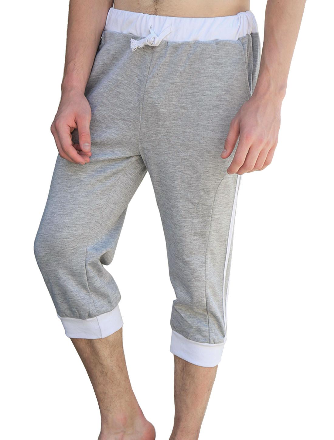Men Drawstring Waist Pockets Stripes Casual Capris Pants Light Gray White W36
