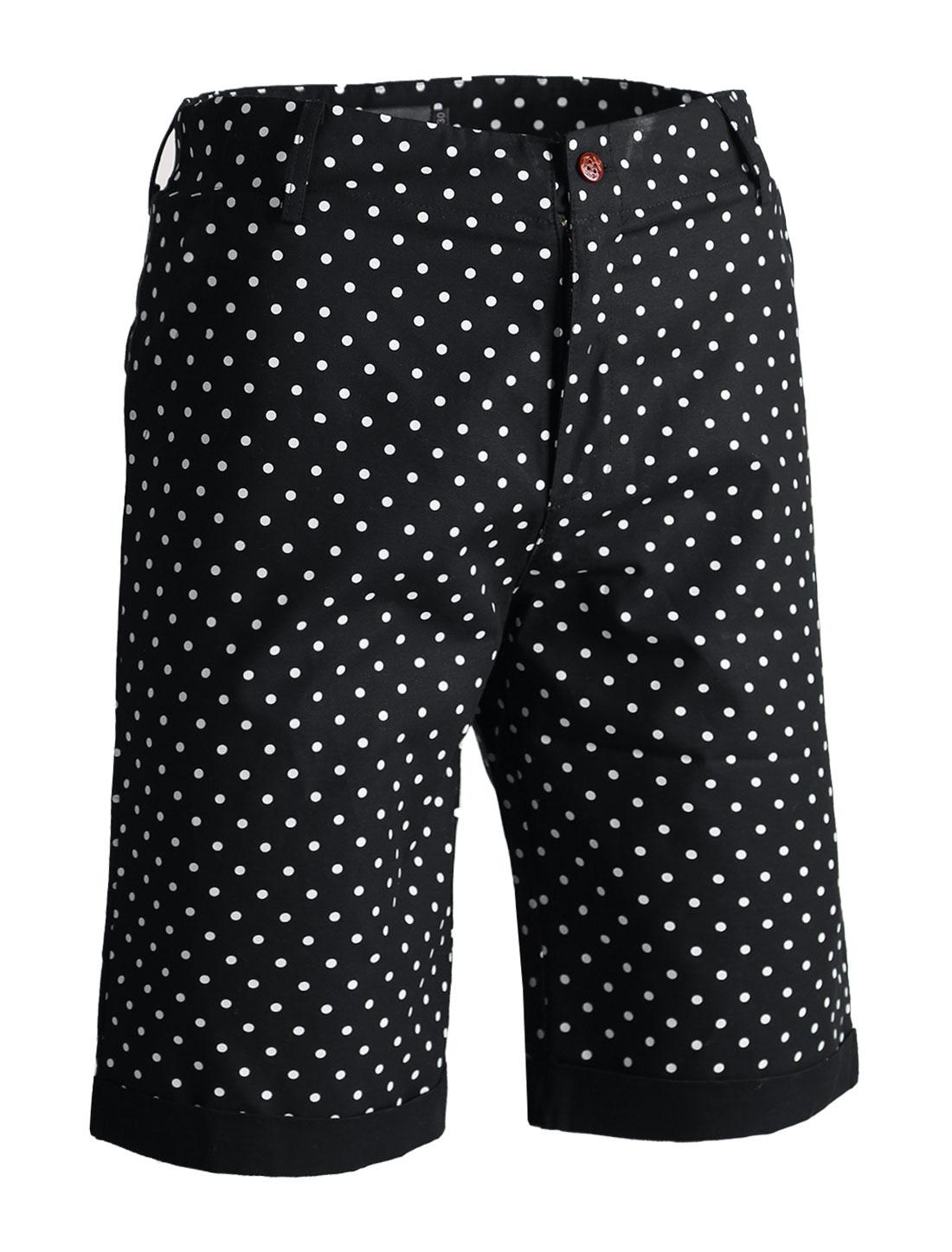 Men Polka Dot Print Buttoned Flap Pockets Cuffed Chino Shorts Black W28