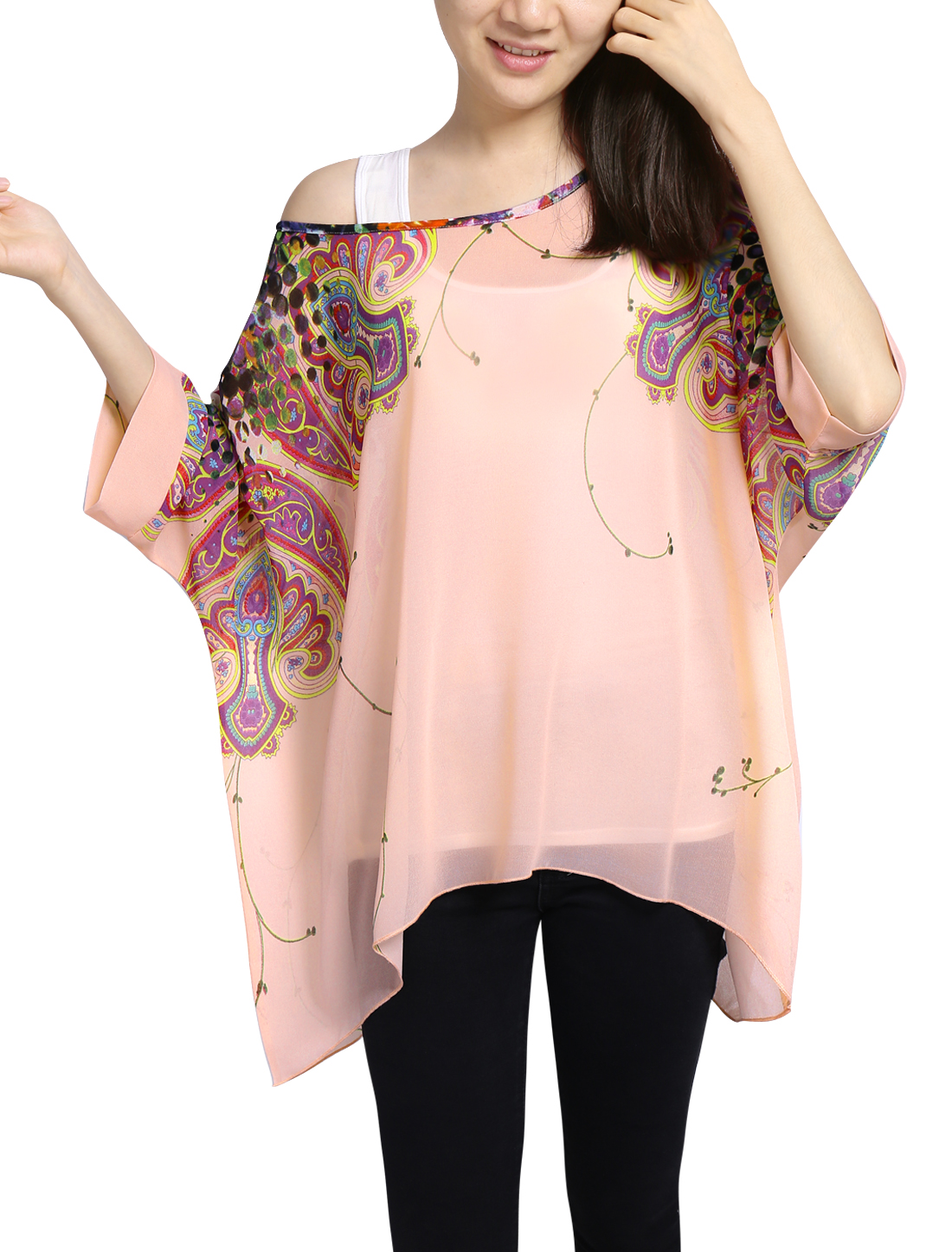 Ladies Novelty Prints 3/4 Sleeves Loose Fit Chiffon Tunic Tops Pale Pink M