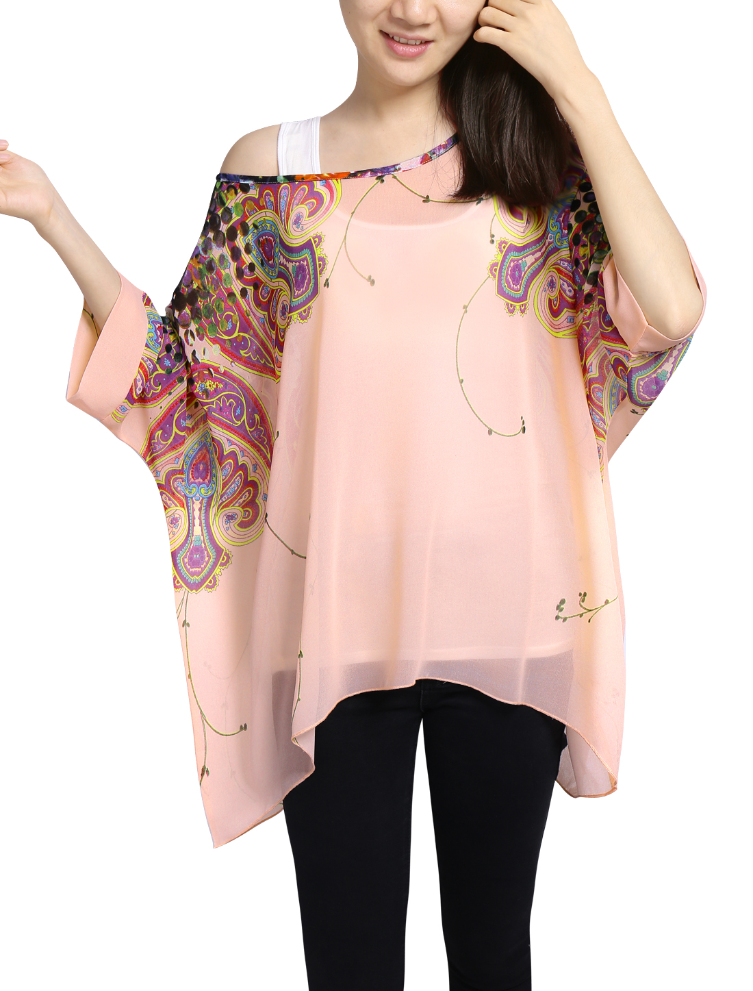 Lady Novelty Prints Batwing Sleeves Chiffon Tunic Shirts Pale Pink L