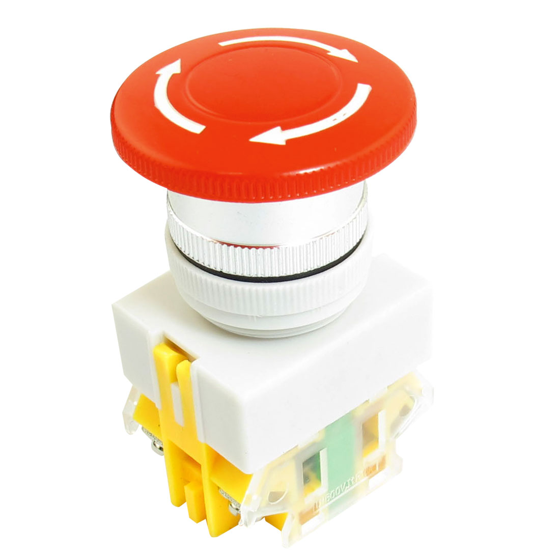 10A 600V DPST 1NO 1NC Style 4 Screw Terminals Latching Red Mushroom Head Push Button Press Emergency Stop Switch