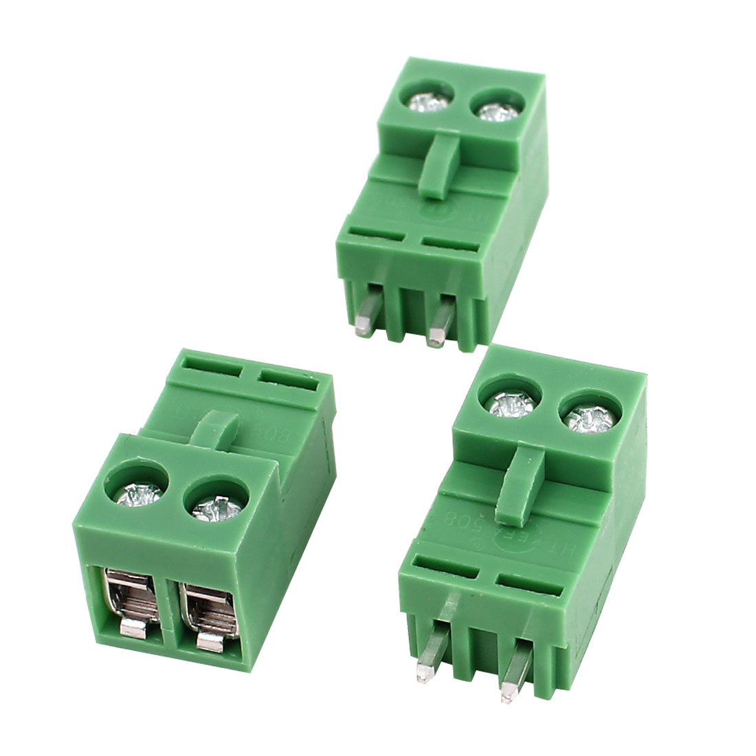 300V 10A 2 Pin 5.08mm Pitch PCB Mount Screw Terminal Block Straight Connector 3pcs Green