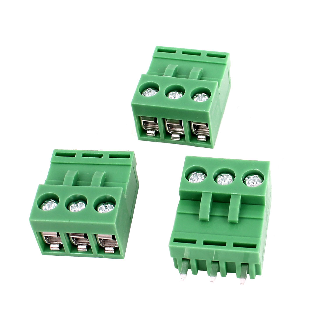 300V 10A 3P 5.08mm PCB Mount Pluggable Screw Terminal Block Straight Connector 3pcs Green