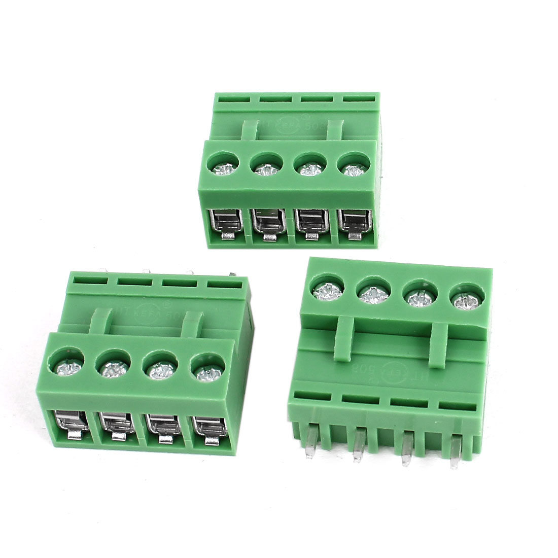 300V 10A 4 Pin 5.08mm Pitch Single Row PCB Screw Terminal Block Straight Connector 3pcs Green