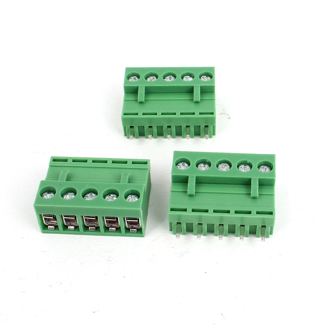 300V 10A 5 Pin Pole 5.08mm Pitch PCB Screw Terminal Block Straight Connector 3pcs Green
