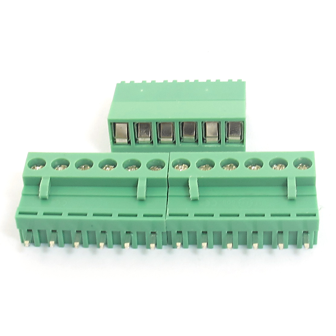 300V 10A 6 Pin Pole 5.08mm Spacing PCB Screw Pluggable Terminal Block Straight Connector 3pcs Green