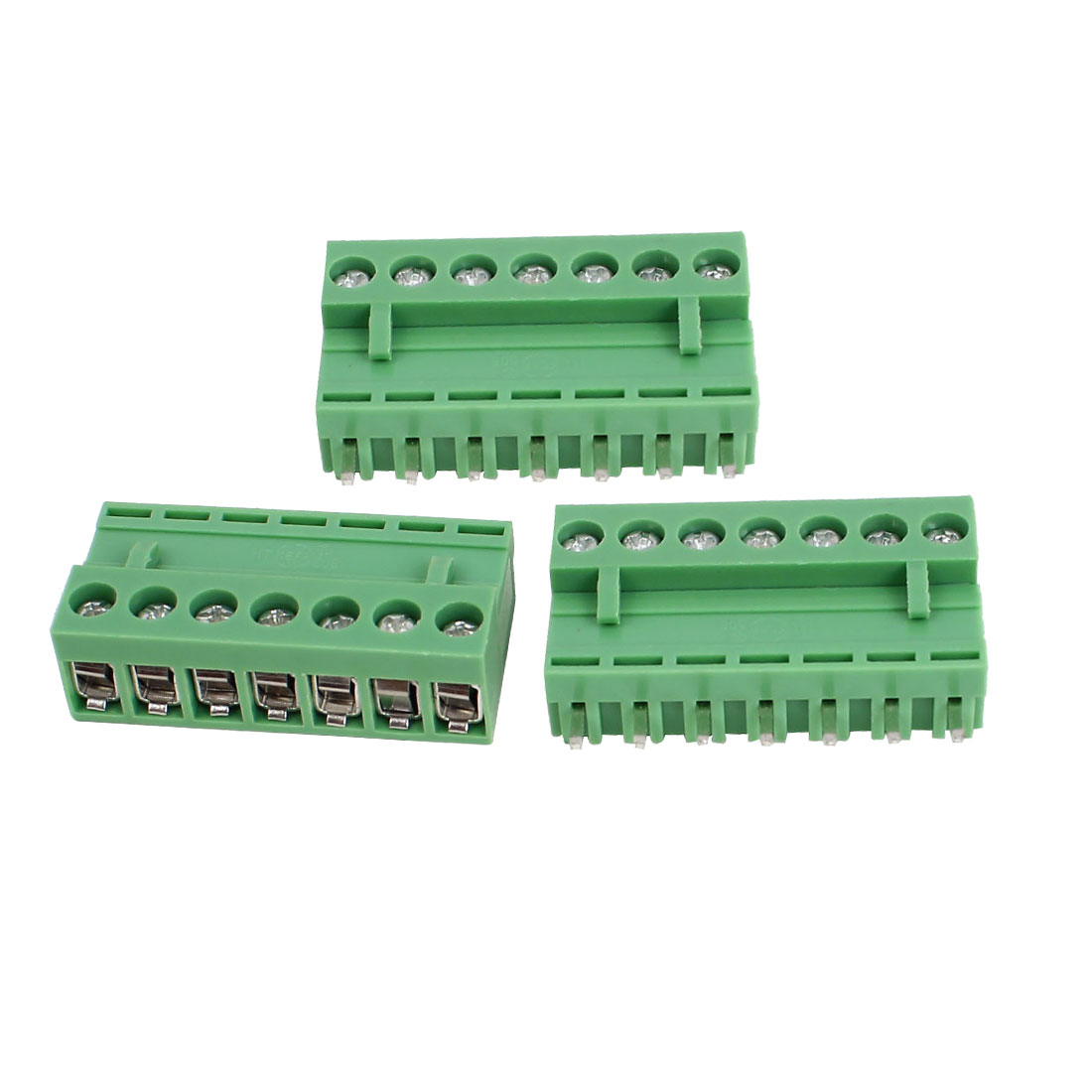 300V 10A 7P Pole 5.08mm Pitch PCB Screw Terminal Block Straight Connector 3pcs Green