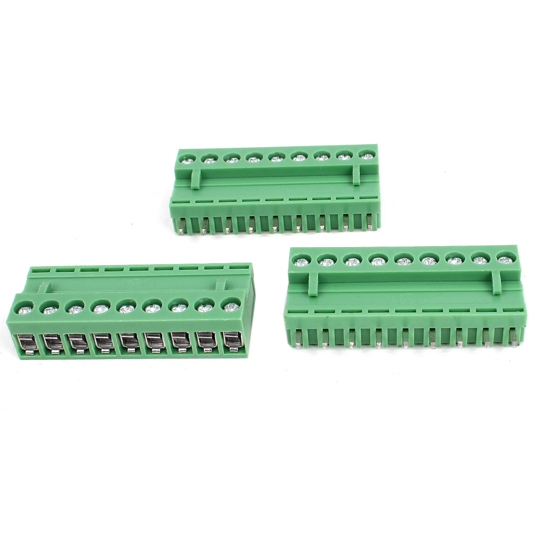 300V 10A 8 Pin Pole 5.08mm Spacing Pluggable Type PCB Screw Terminal Block Connector 3pcs Green