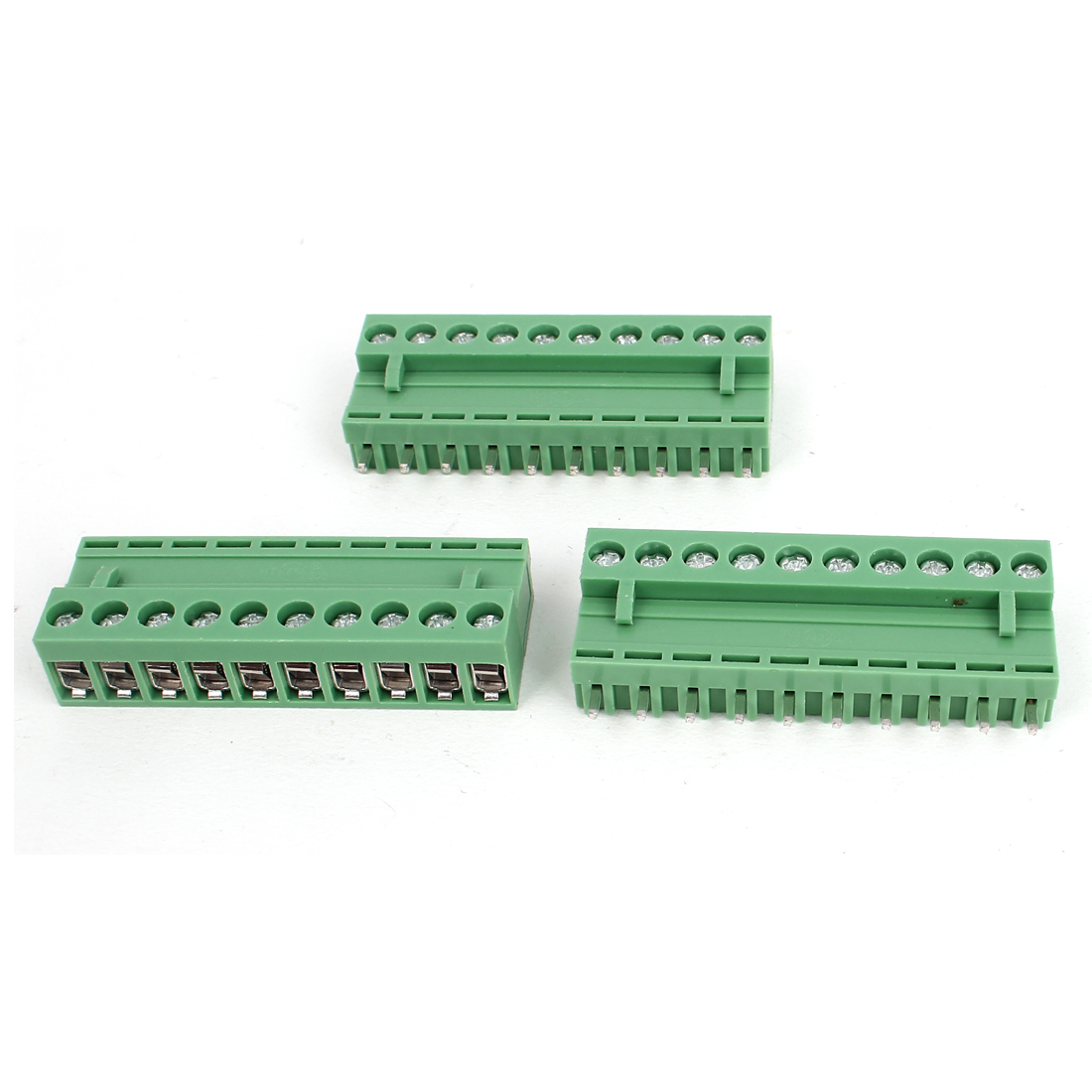 300V 10A 10 Pole 5.08mm Spacing Pluggable Type PCB Screw Terminal Block Straight Connector 3pcs Green