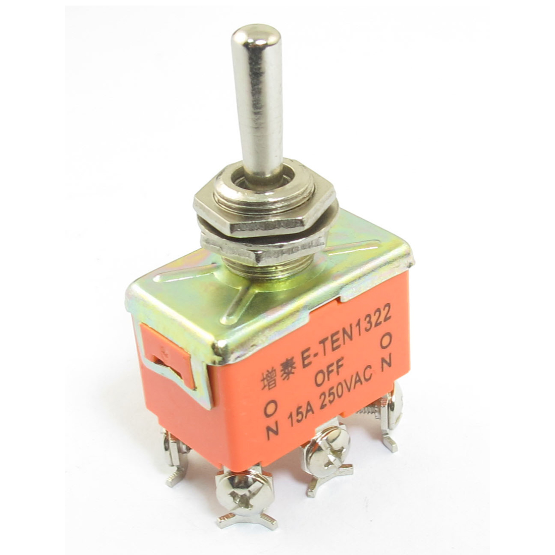 AC 250V 15A 6 Screw Terminals ON/OFF/ON 3 Position DPDT Self Latching Rocker Toggle Switch