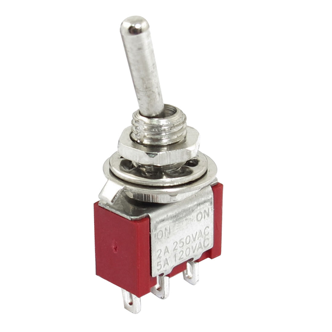 AC 125V 6A SPDT 3P ON-OFF 2 Positions Self Locking Rocker Toggle Switch Red