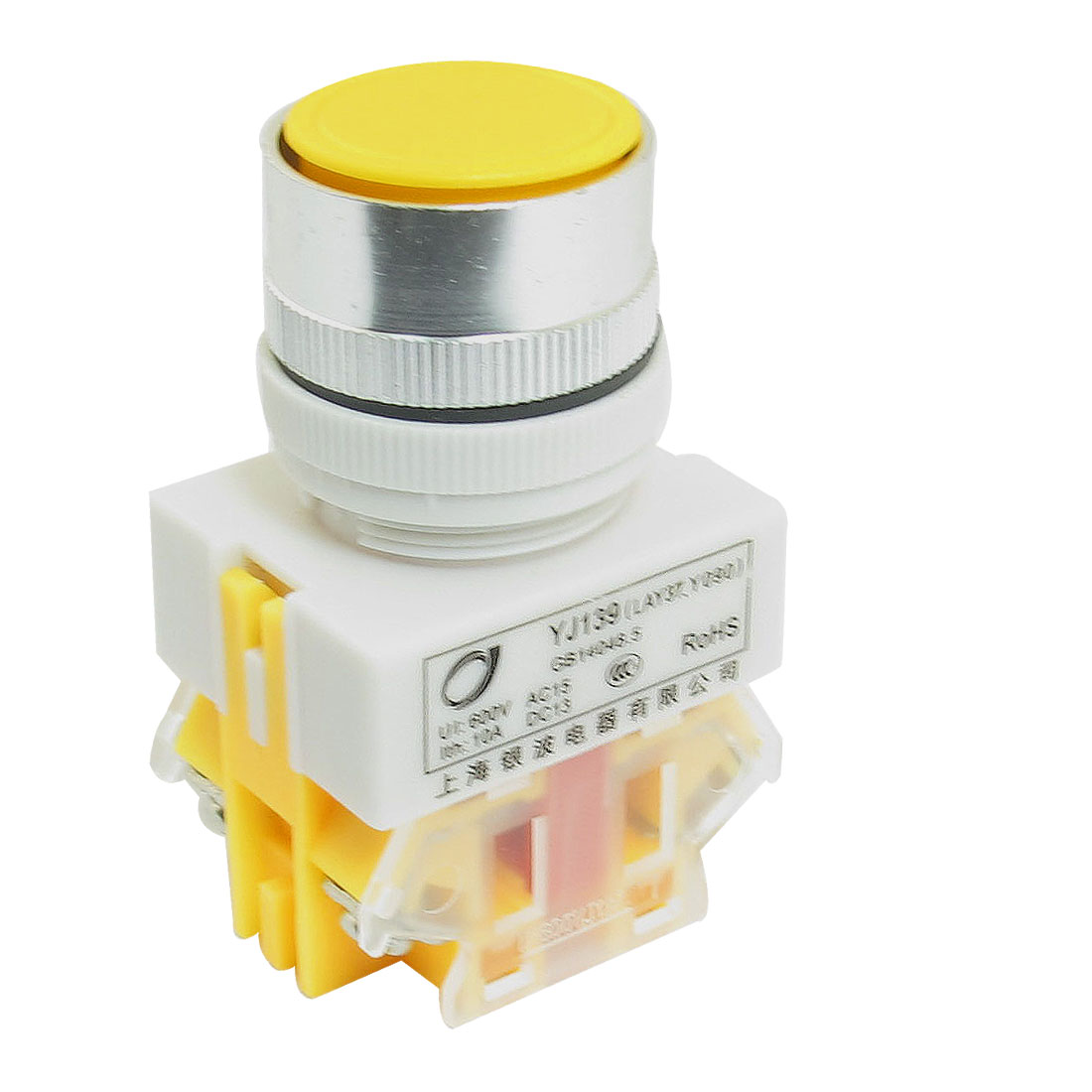 10A 600V DPST NO NC Style Momentary Yellow Flat Push Button Pushbutton Switch
