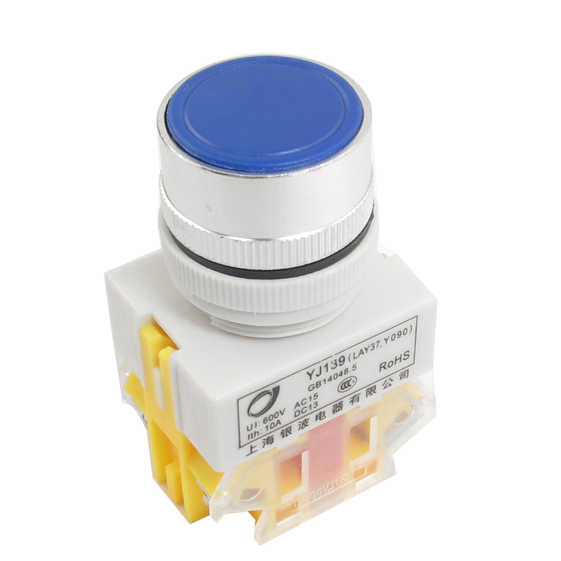 10A 600V DPST NO NC Style 4 Screw Terminal Momentary Blue Push Button Pushbutton Switch