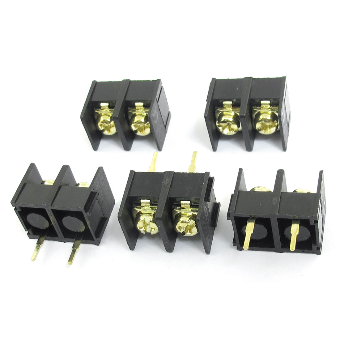 5pcs 300V 25A 2 Position 9.5mm Pitch Single Row PCB Board Black Screw Terminal Barrier Block Connector