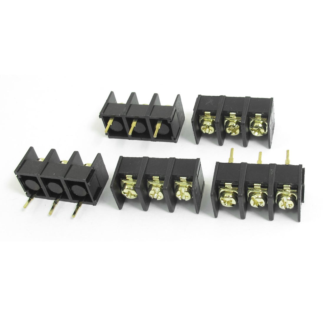 5pcs 300V 25A 3P Pole 9.5mm Pitch Single Row PCB Board Black Screw Terminal Barrier Block Connector
