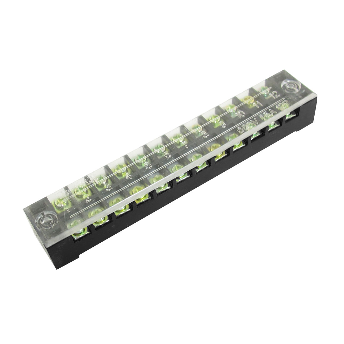 600V 15A 12 Positions Double Rows 24 Screw Covered Terminal Barrier Block Cable Board