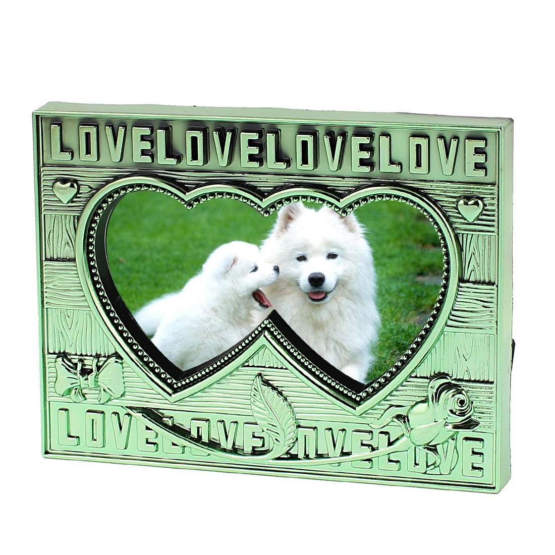 Green Plastic Dual Heart Design Tabletop Desk Decor Picture Photo Frame Holder