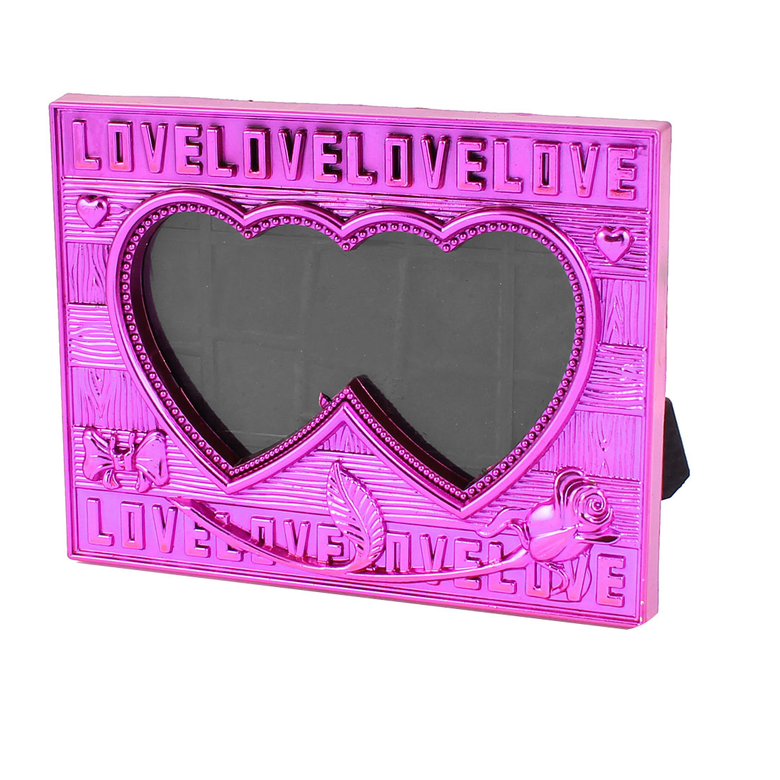 Fuchsia Plastic Dual Heart Shaped Tabletop Desk Decoration Photo Display Picture Frame Holder