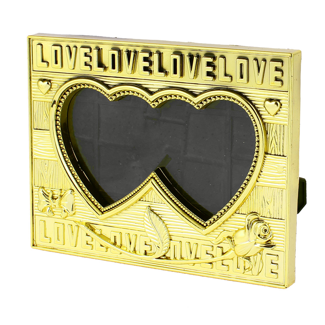 Yellow Plastic Dual Heart Shaped Tabletop Desk Ornament Picture Photo Frame Holder