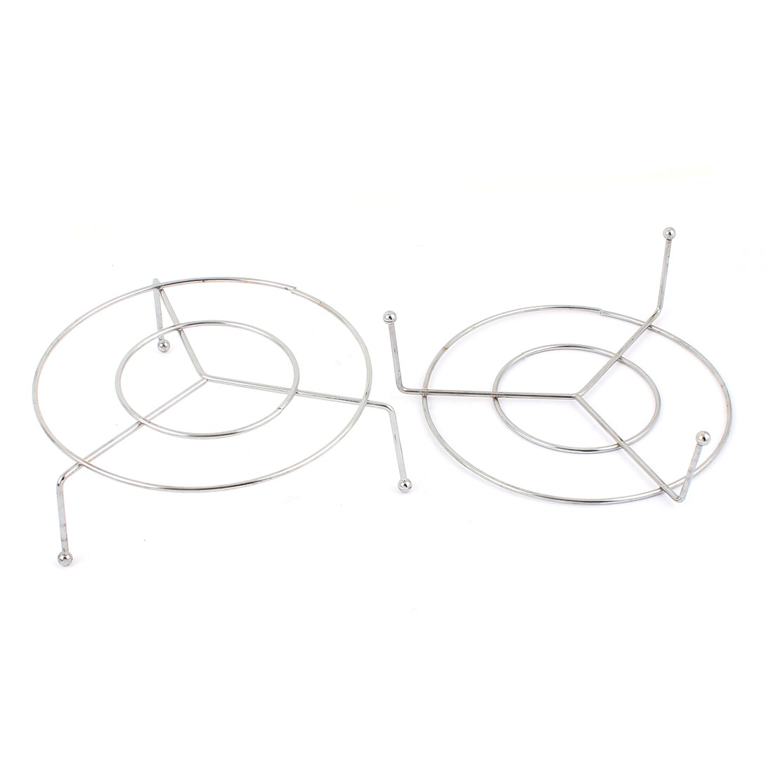 Household Kitchen Metal Wire Round Cooking Ware Steaming Rack Stand 11cm Diameter 2pcs Silver Tone