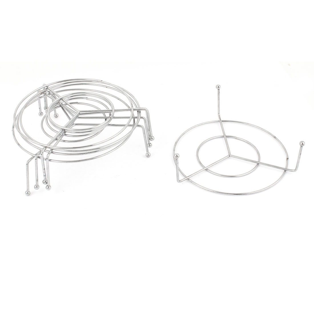Kitchen Metal Wire Round Cooking Ware Food Steaming Rack Stand 11cm Diameter 5pcs Silver Tone
