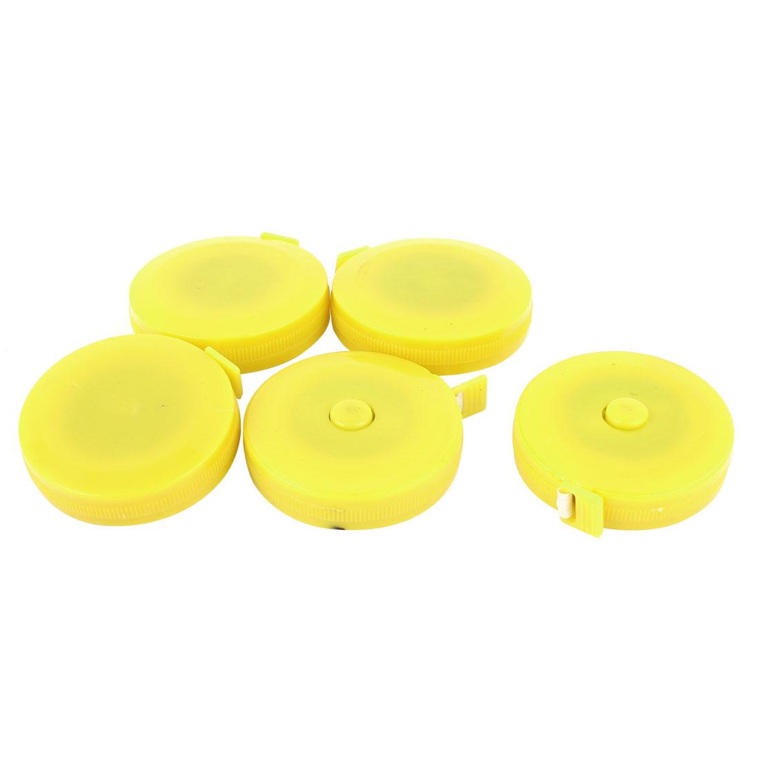 "5pcs 60"" 1.5M Yellow Plastic Round Housing Press Button Retractable Dual Measuring Tape Ruler"