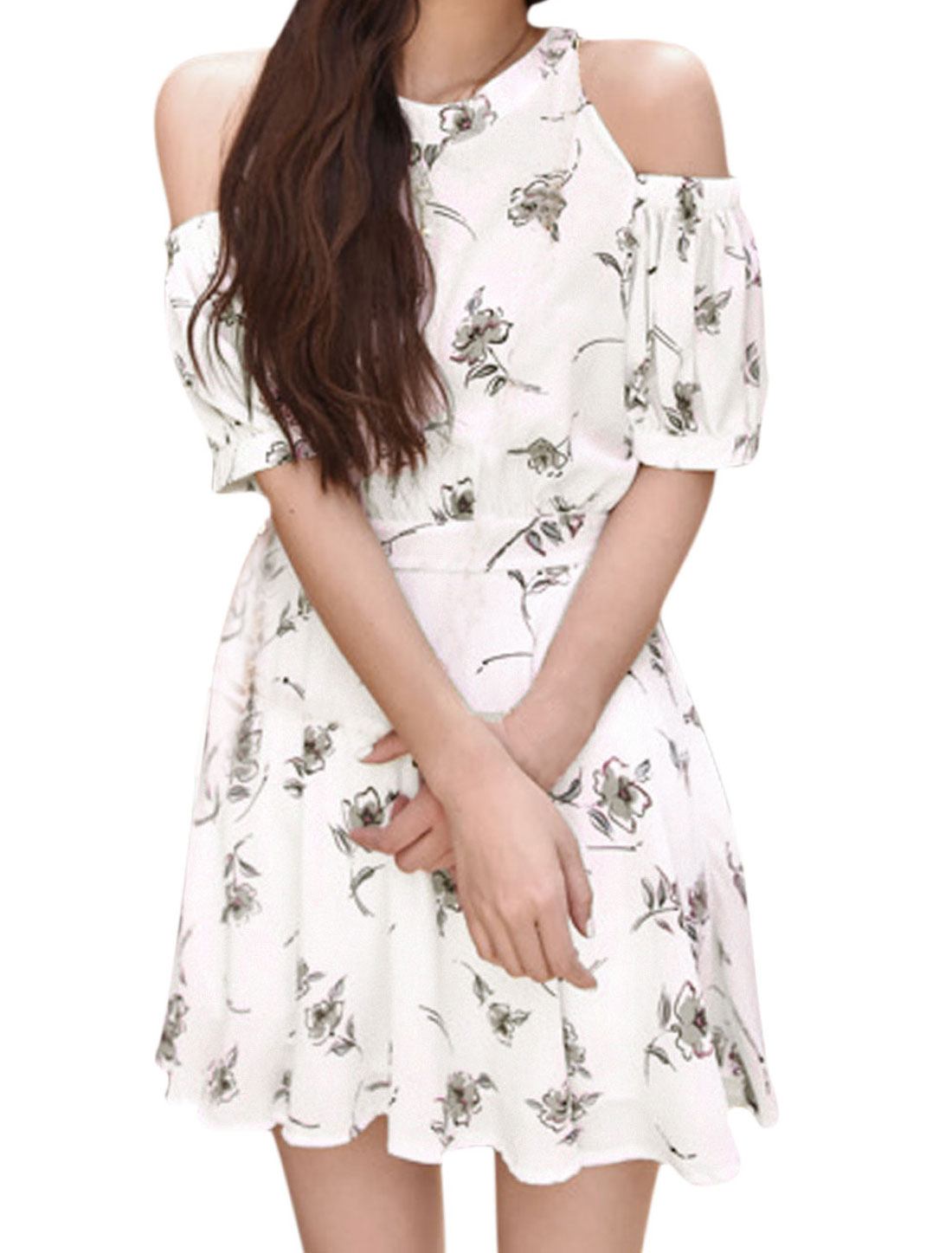 Women Cold Shoulder Floral Prints Halter Neck Dress White XS