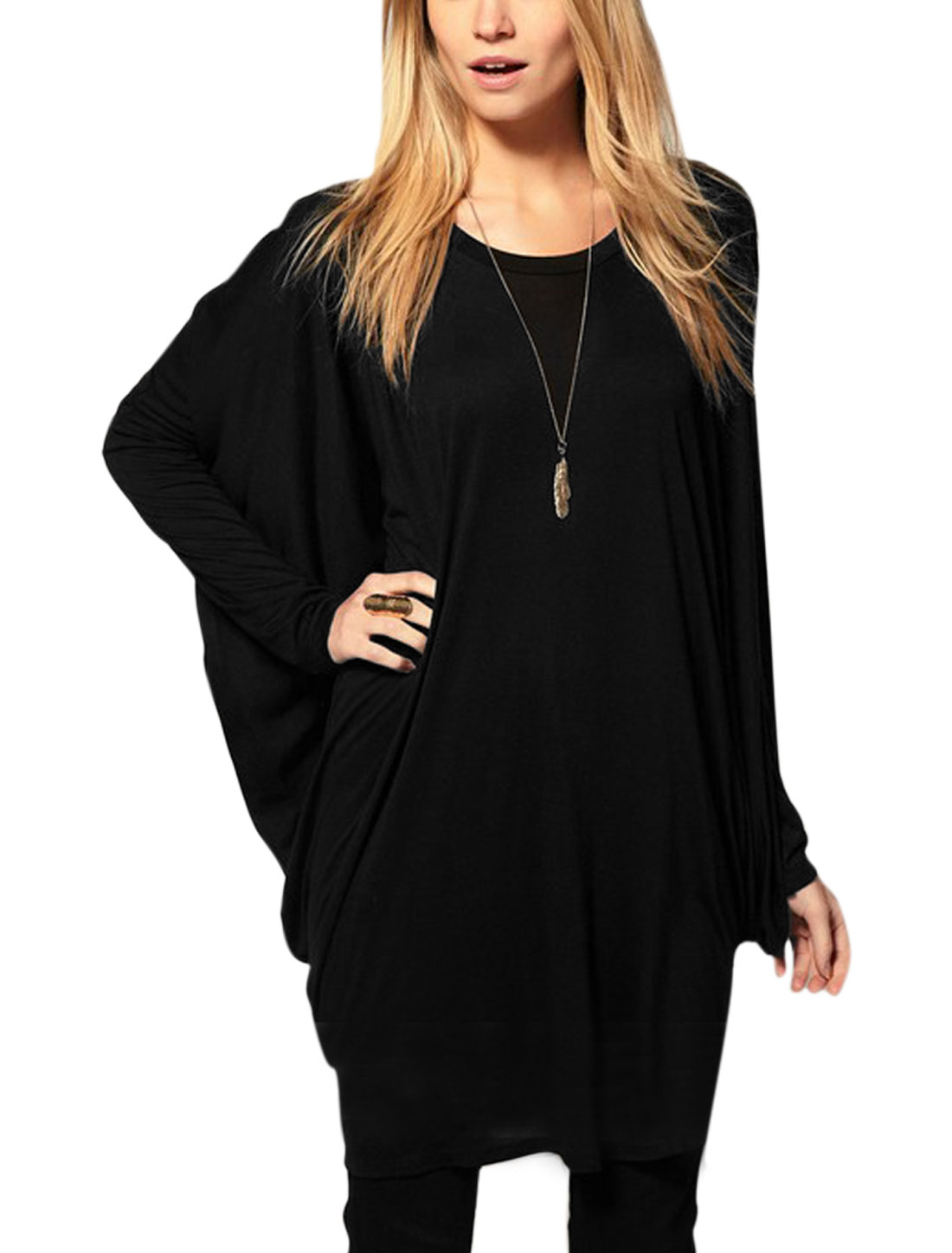 Ladies Long Batwing Sleeves Loose Fit Casual Tunic Tops Black XS