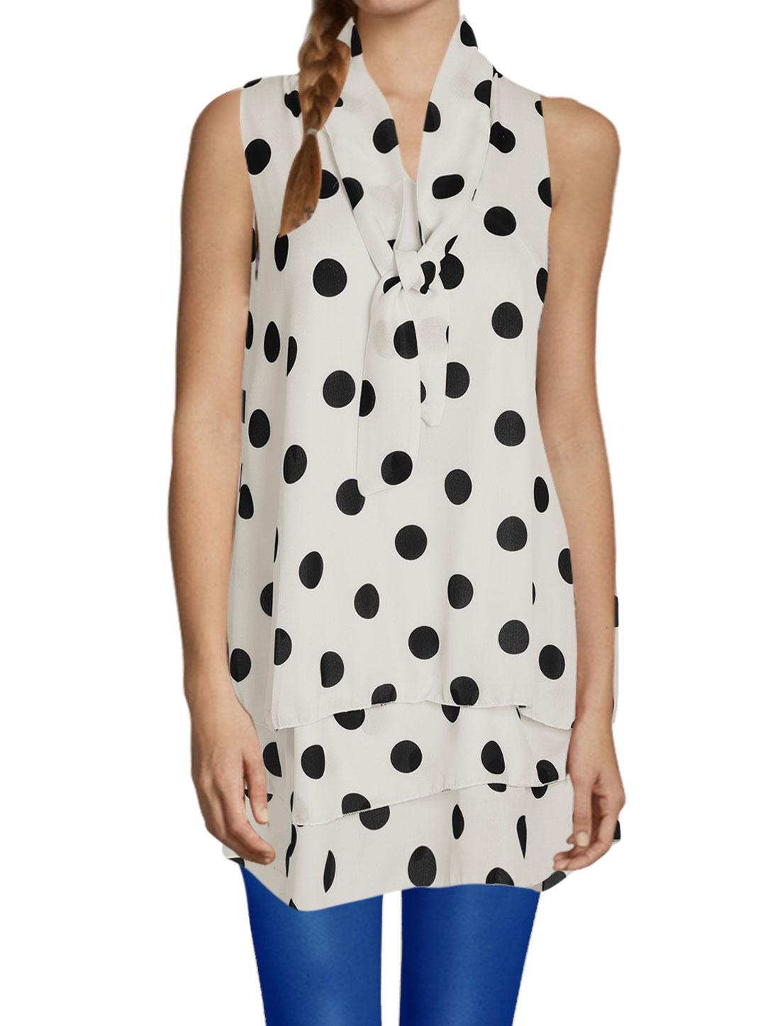Woman Polka Dots Prints Pussybow Collar Sleeveless Layered Tunic Top White S