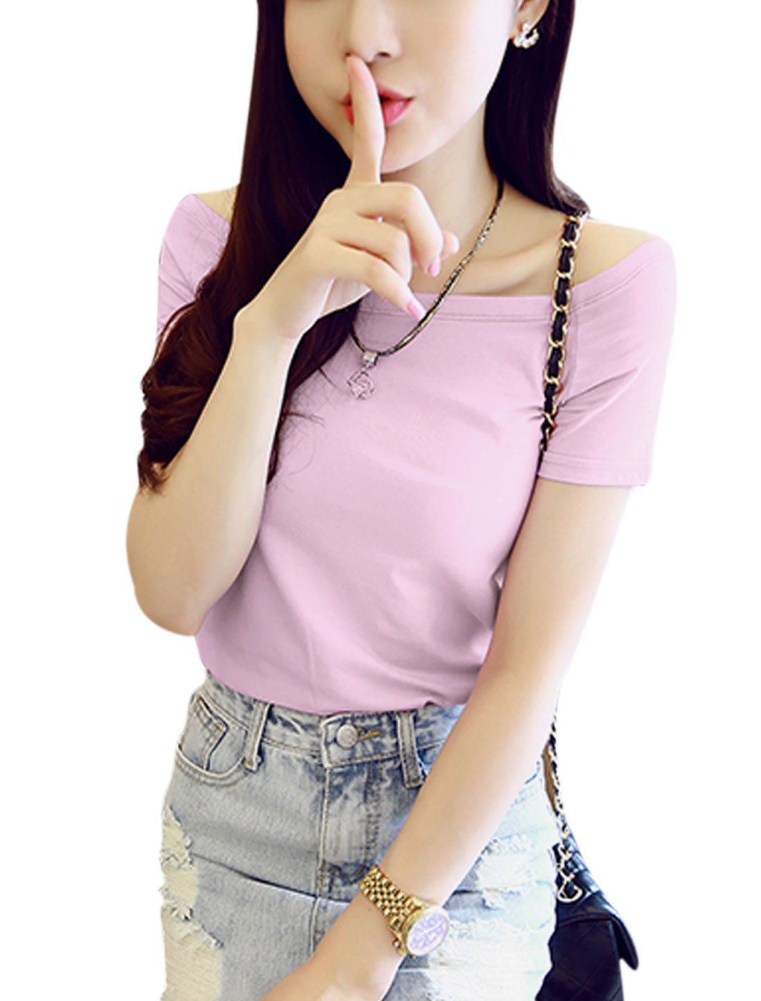 Lady Off Shoulder Short Sleeves Slipover Casual Tops Lilac S