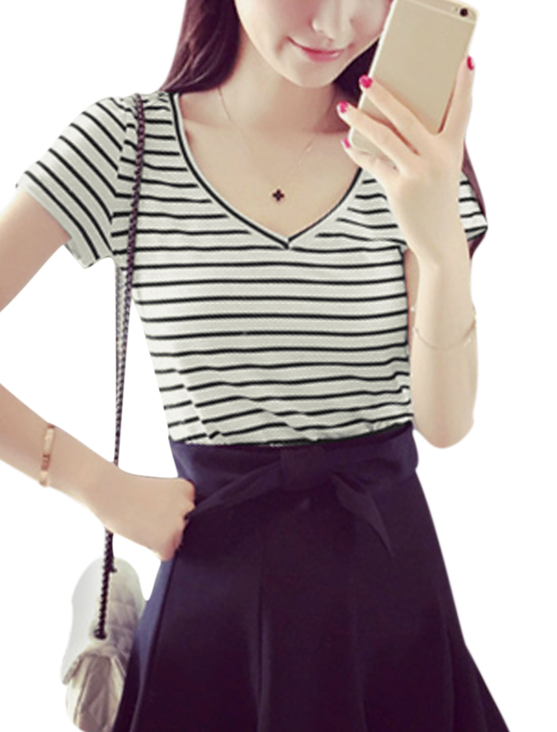 Ladies V Neckline Short Sleeves Striped Basic Tee White XS