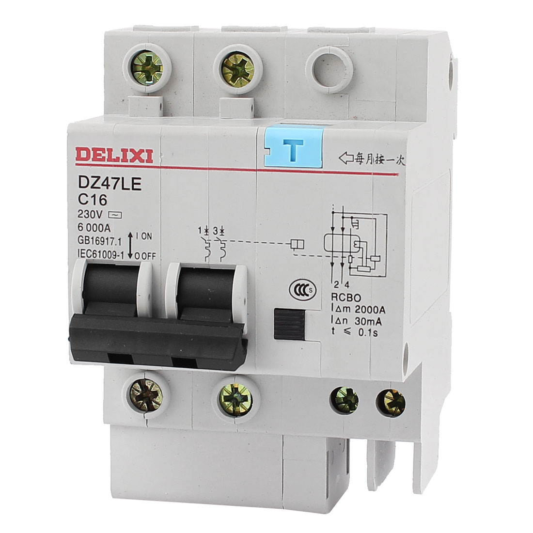 AC 230V 16A 6000A 2 Poles DIN Rail Mount Miniature Circuit Breaker 2P