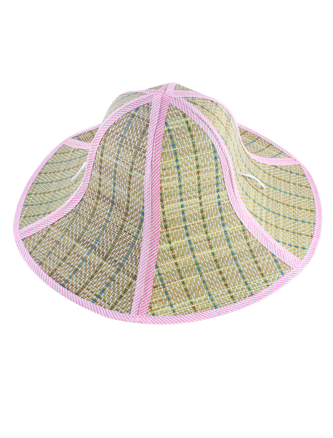 Lady Pink Striped Fabric Decor Wide Brim Summer Sun Foldable Straw Braided Hat