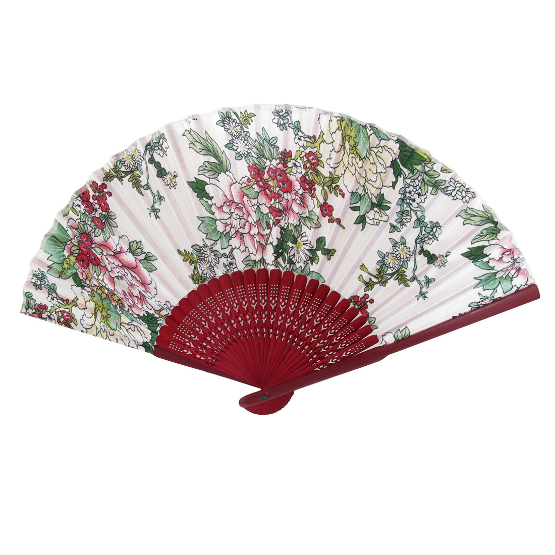 Burgundy Wood Hollow Out Style Frame Flower Pattern Fabric Foldable Hand Fan