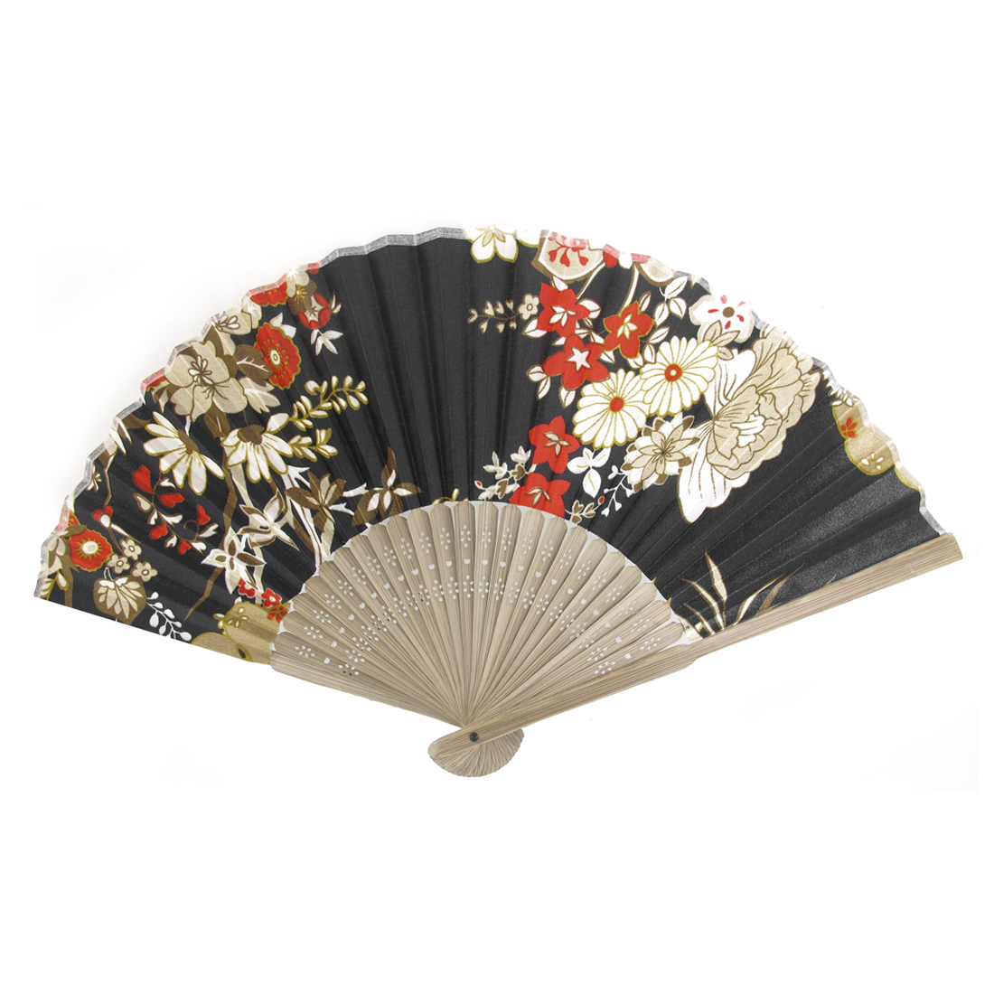 Summer Brown Bamboo Frame Flower Printed Fabric Foldable Pocket Hand Fan Black