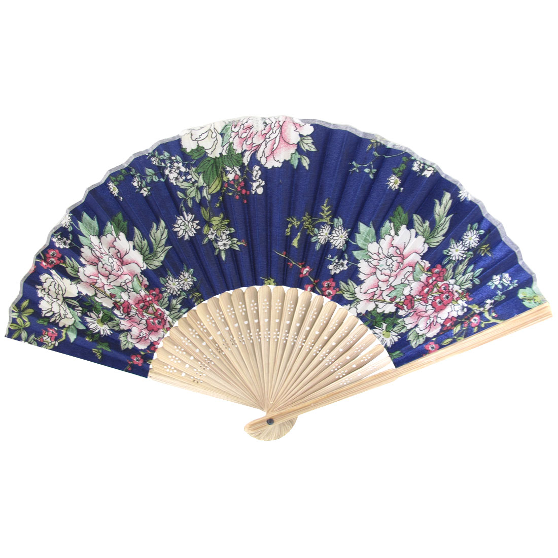 Summer Brown Bamboo Frame Flower Printed Fabric Foldable Pocket Hand Fan Blue