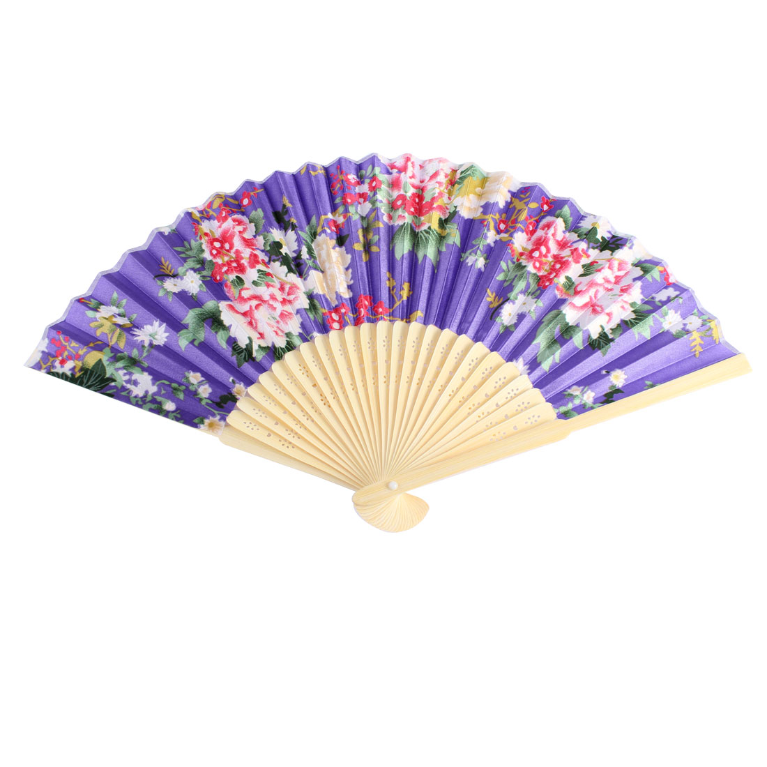 Orient Style Flower Pattern Bamboo Frame Wedding Party Folding Hand Fan Purple