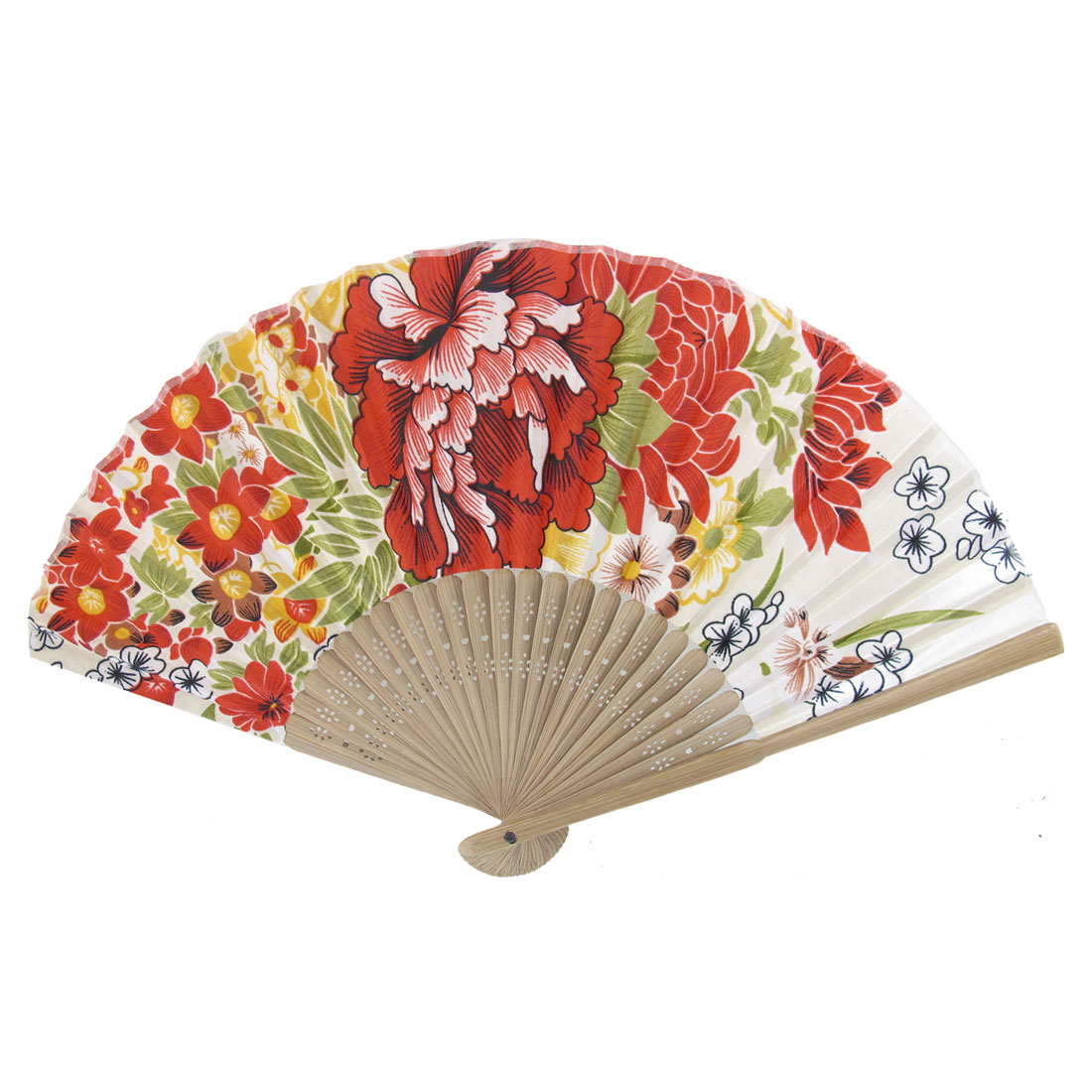 Summer Brown Bamboo Frame Flower Printed Fabric Foldable Portable Hand Fan Red