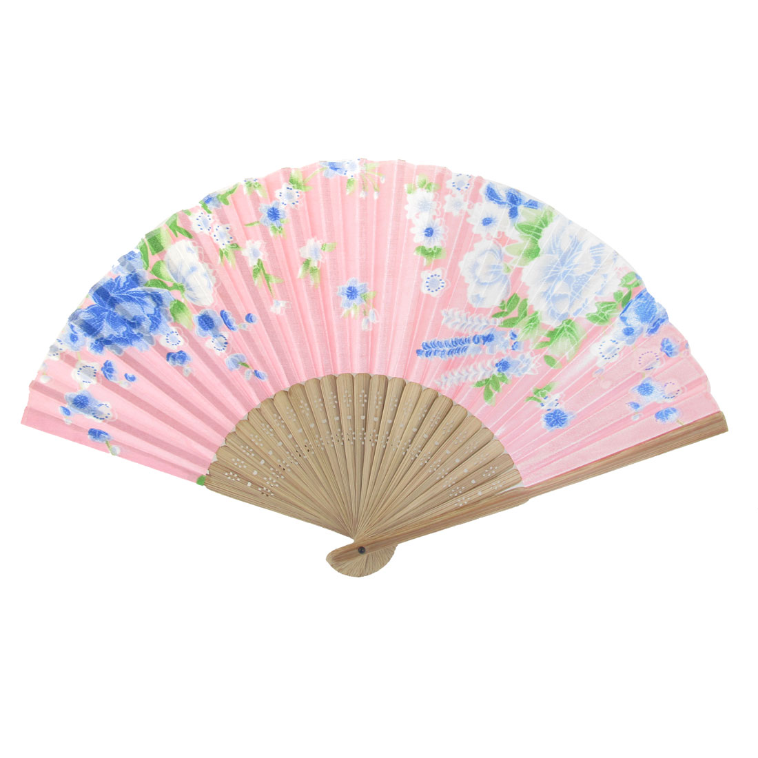 Summer Brown Bamboo Frame Flower Printed Fabric Foldable Pocket Hand Fan Pink