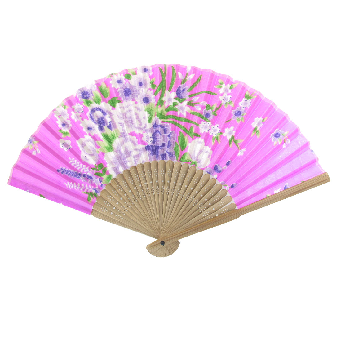 Summer Beige Bamboo Frame Flower Printed Fabric Foldable Pocket Hand Fan Fuchsia