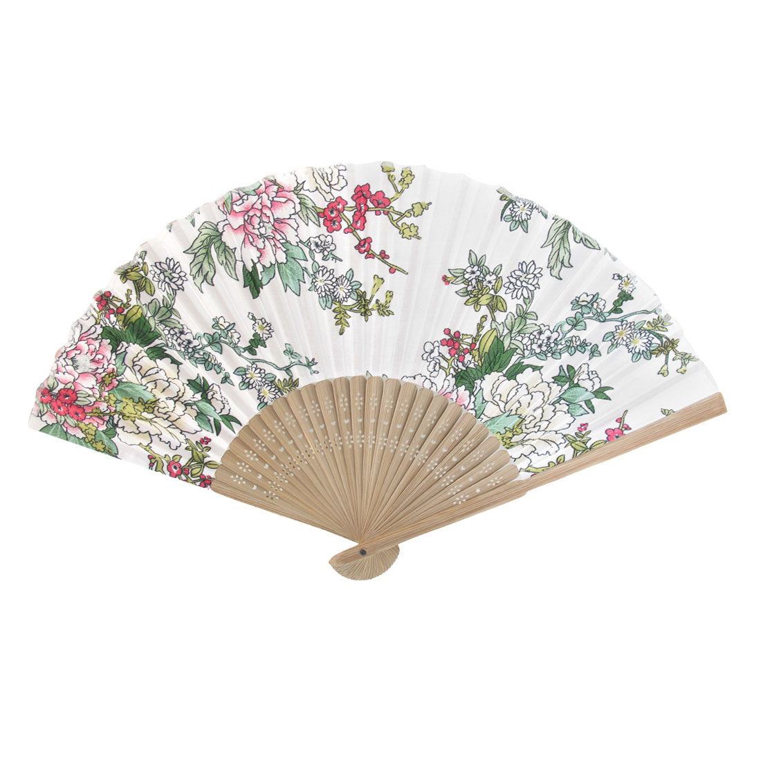 Summer Brown Bamboo Frame Flower Printed Fabric Foldable Pocket Hand Fan White