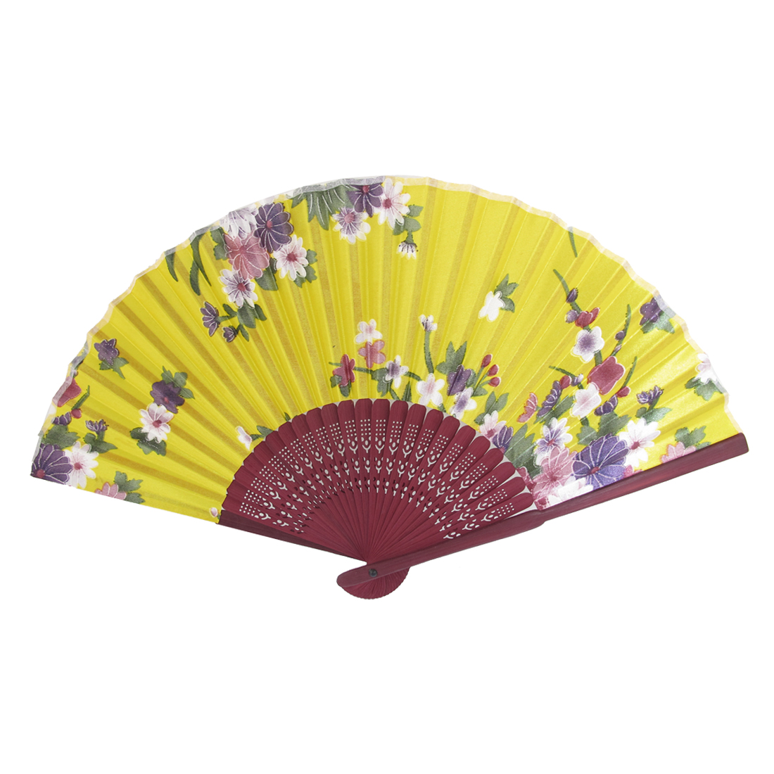 Wood Hollow Out Style Ribs Flower Pattern Fabric Foldable Hand Fan Yellow