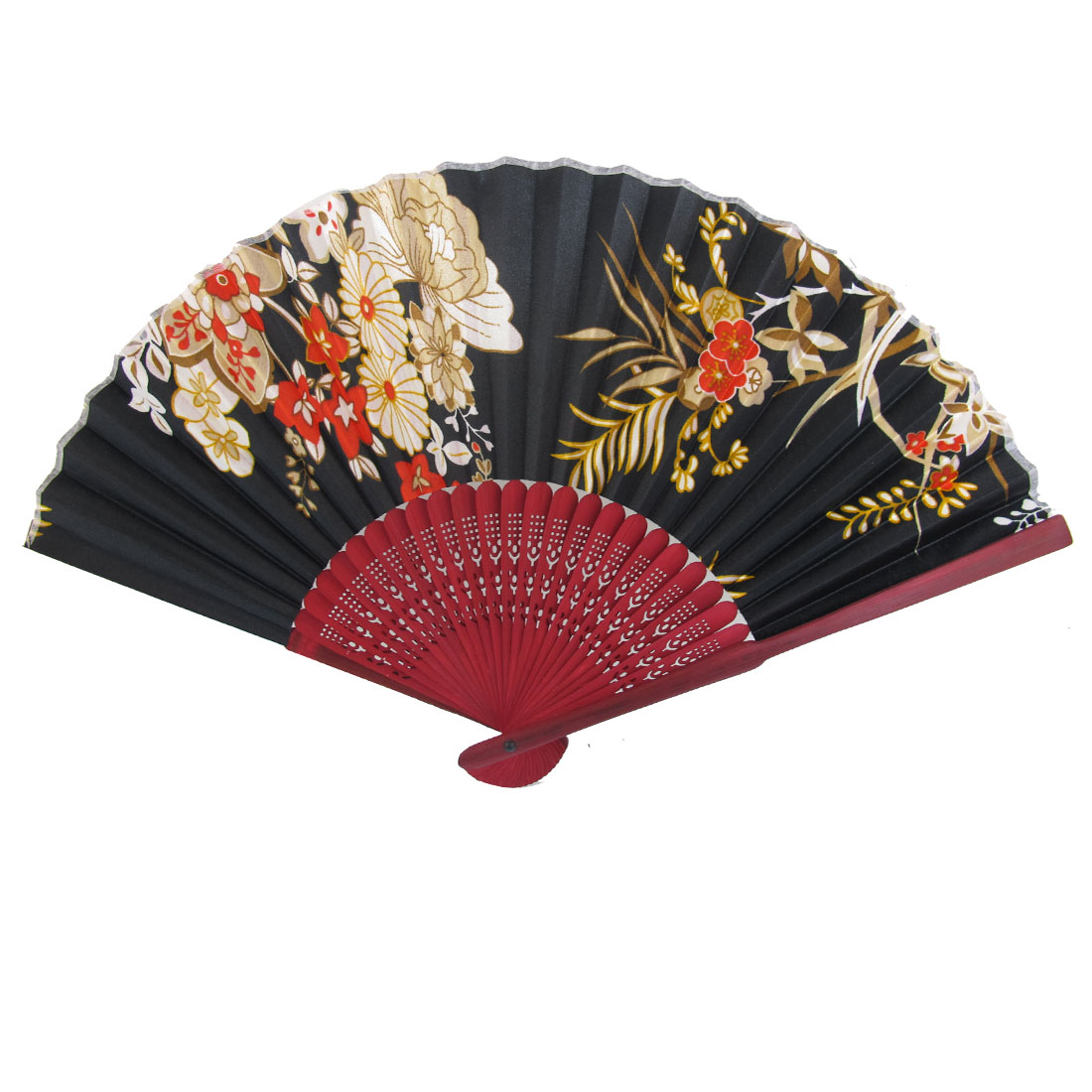 Burgundy Wood Hollow Out Design Ribs Flower Pattern Fabric Foldable Hand Fan