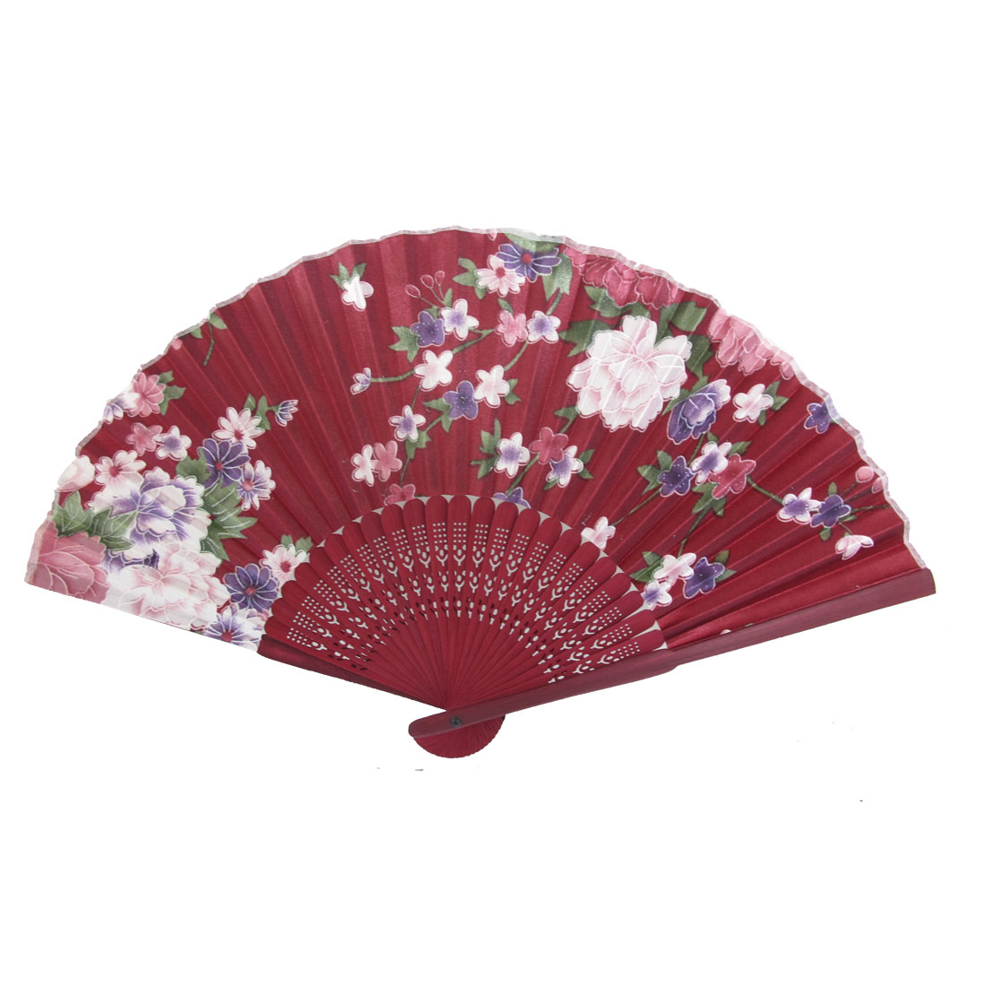 Burgundy Wood Hollow Out Style Frame Flower Pattern Fabric Folding Hand Fan