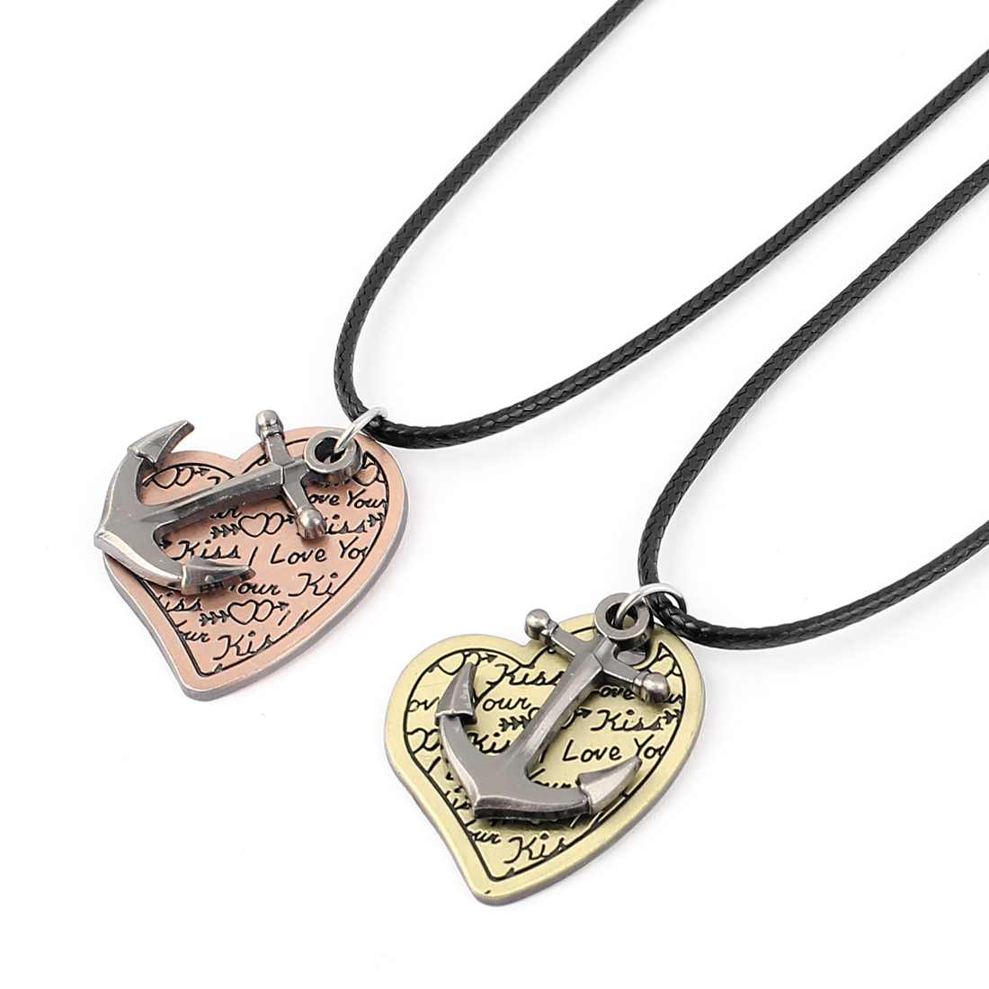 Lover Couple Metal Anchor Heart Pendant Neck Ornament Chain Necklace 2pcs