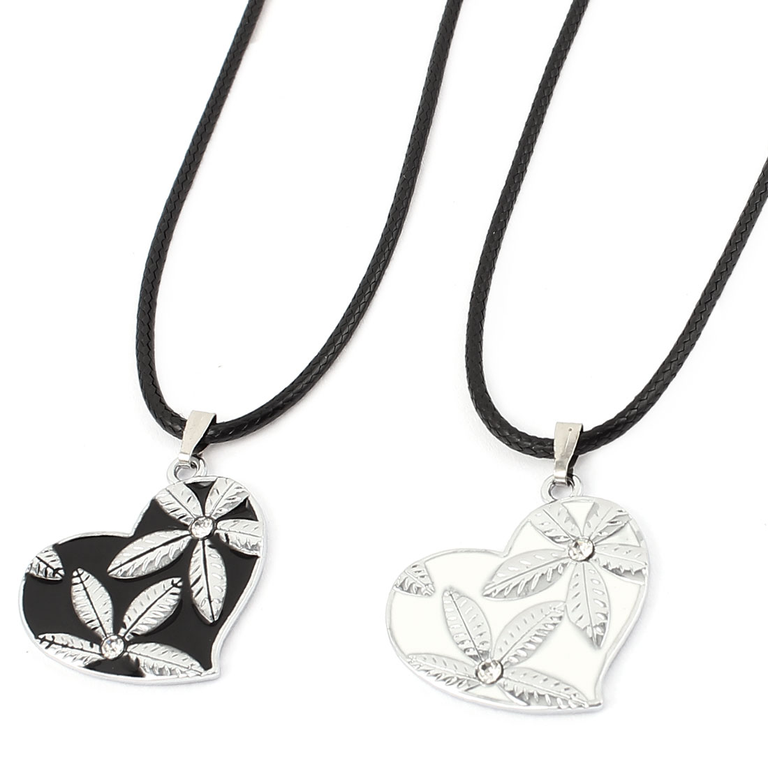 2pcs Stainless Steel Heart Shape Pendant Couple Matching Set Necklaces