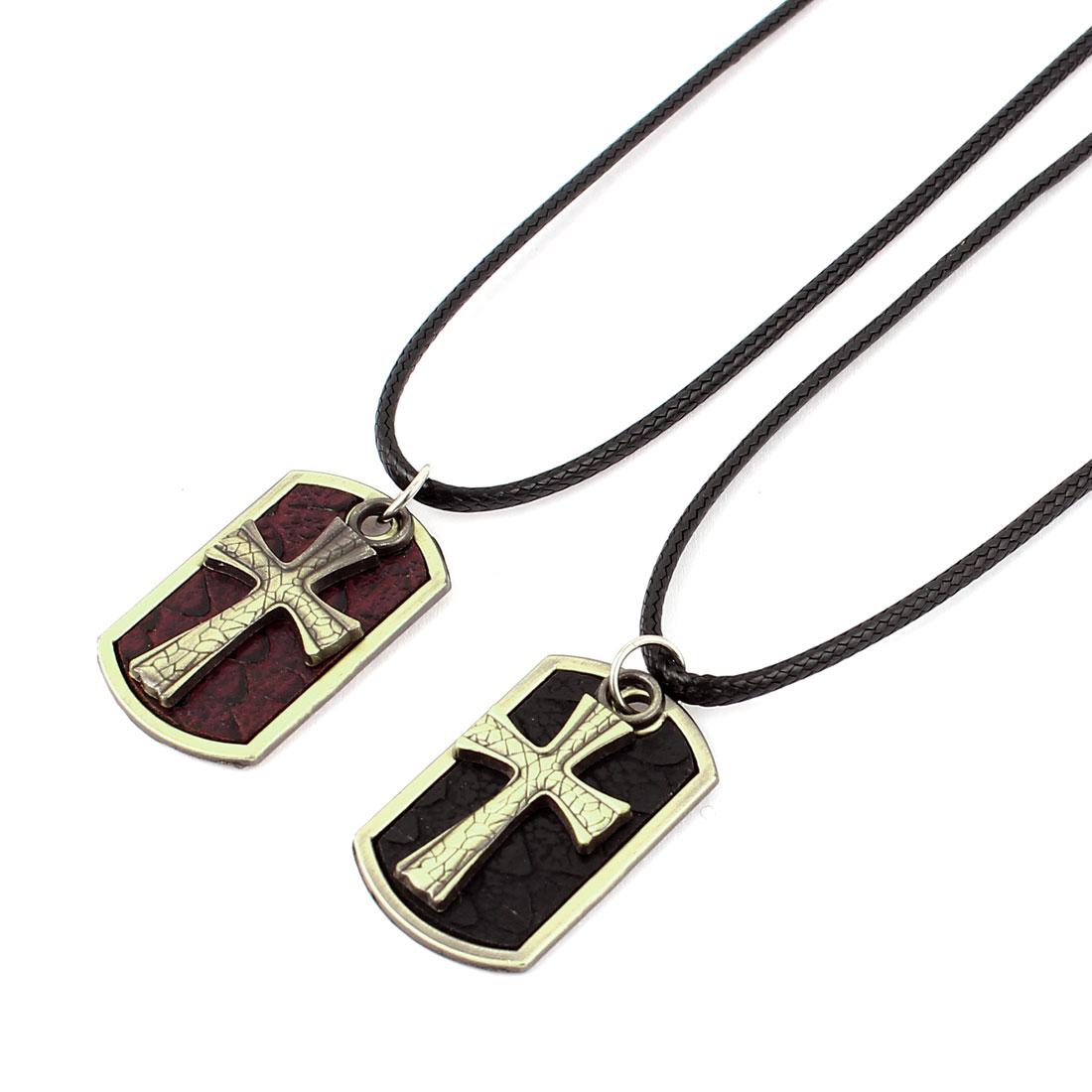 Women Men Metal Cross Pendant Couple Necklace Cord Choker Gift 2pcs